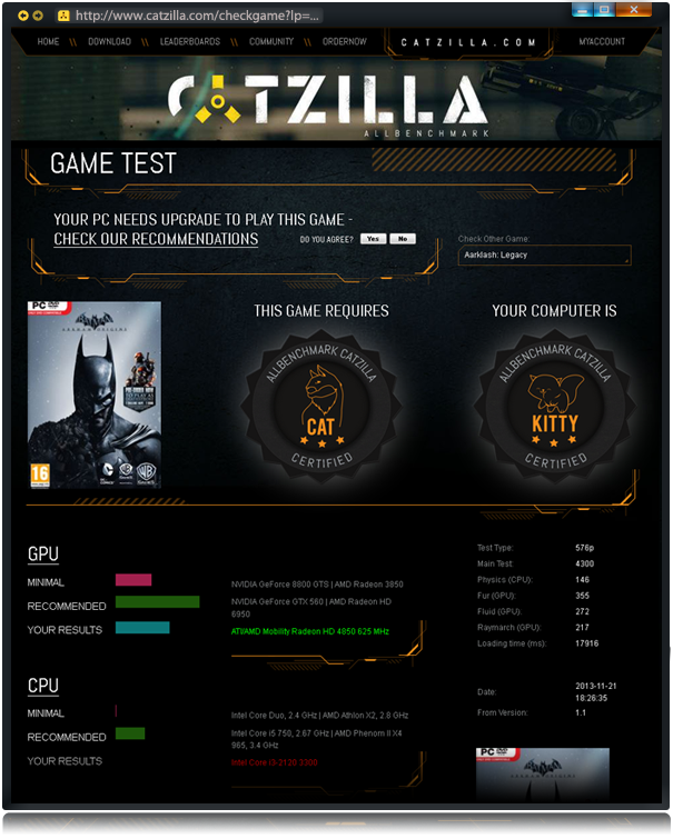 Catzilla ALLBenchmark - check game result